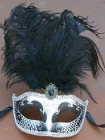 Black and Silver Tall Feather Mask